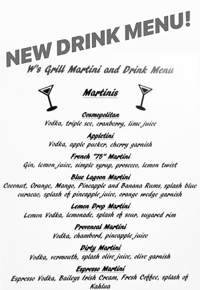 Martini menu NOW AVAILABLE