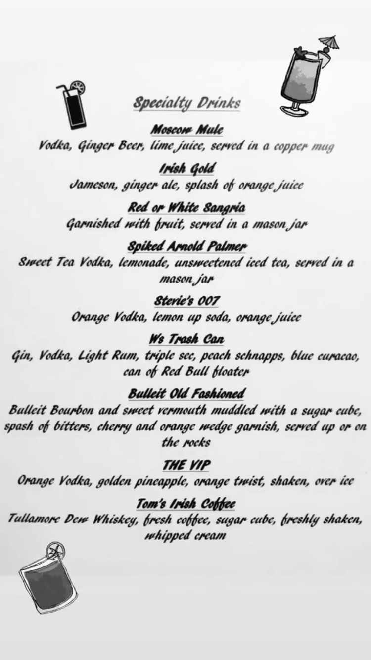 Specialty drink menu NOW AVAILABLE